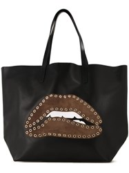 Red Valentino Mouth Patch Tote Bag Black