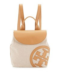Tory Burch Lonnie Canvas Beach Backpack Natural Vachetta