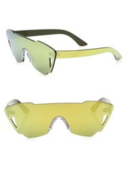 Kyme Tamara Mirrored Shield Sunglasses Yellow