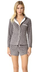 Emerson Road Live To Lounge Short Pj Set Iron Heather Hole Punch