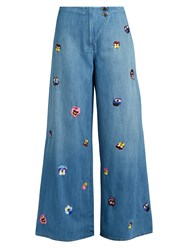 Christopher Kane Pansy Embroidered Wide Leg Jeans Mid Blue