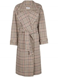 Nomia Plaid Pattern Trench Coat Brown