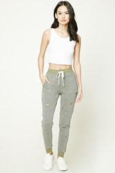 Forever 21 Raw Cut Sweatpants Heather Grey Sage