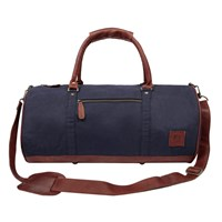 Mahi Leather Classic Duffle Overnight Gym Bag In Navy Canvas Blue