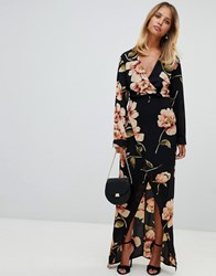 Girl In Mind Long Sleeve Floral Wrap Maxi Dress Multi