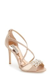 Badgley Mischka Women's 'Gala' Crystal Embellished Evening Sandal Latte Satin