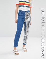 Liquor And Poker Petite Boyfriend Jeans With One Sequin Leg Blue
