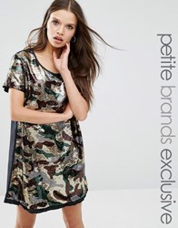 Liquor And Poker Petite Sequin Oversized Dress In Camo Print Camo Green