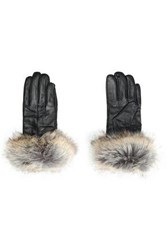 Surell Faux Fur Trimmed Leather Gloves Gray
