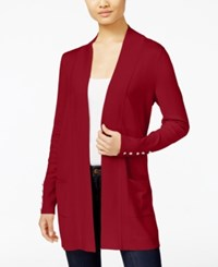 Jm Collection Petite Open Front Button Sleeve Cardigan Created For Macy's New Red Amore
