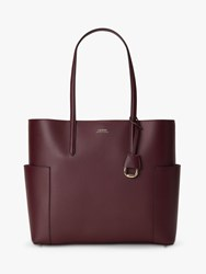Ralph Lauren Dryden Carlyle 36 Leather Tote Bag Bordeaux Field Brown