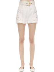 Zimmermann Embroidered Linen Shorts Ivory