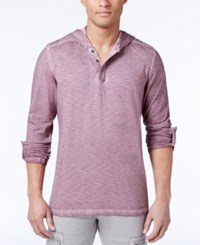 Inc International Concepts Men's Henley Style Cotton Hoodie Only At Macy's Rum Raisin
