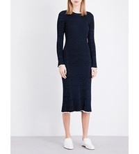 Pringle Of Scotland Ribbed Stretch Knit Midi Dress Midnight Offwhite