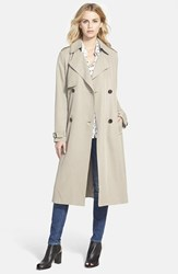 Women's Vera Wang Double Breasted Long Trench Coat Taupe