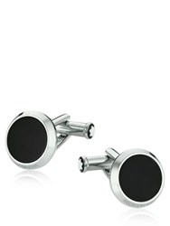 Montblanc Meisterstuck Steel And Onyx Cufflinks Silver Black
