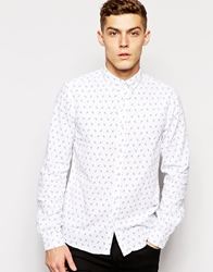 Solid Solid Long Sleeved Shirt With Anchor Print White