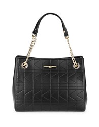 Karl Lagerfeld Quilted Leather Tote Black