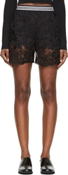 Denis Gagnon Black Sheer Floral Lace Shorts