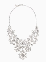 Kate Spade Crystal Lace Statement Necklace Clear Silver