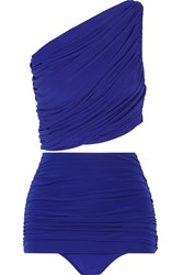 Norma Kamali Ruched One Shoulder Bikini Royal Blue