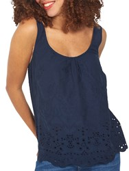 Fat Face Chloe Broderie Cami Navy