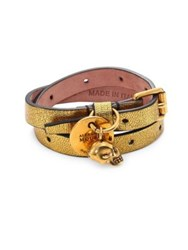 Alexander Mcqueen Metallic Leather Double Wrap Bracelet Antique Gold