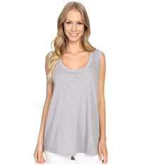 Allen Allen Hi Low Tank Top Pale Grey Women's Sleeveless Gray