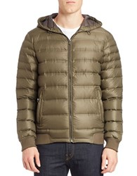 7 For All Mankind Packable Hooded Puffer Coat Olive