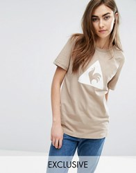 Le Coq Sportif Exclusive To Asos Flocked Logo T Shirt In Camel Silver Mink Cream