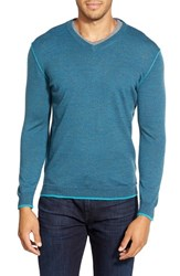 Men's Bugatchi V Neck Merino Wool Sweater Teal