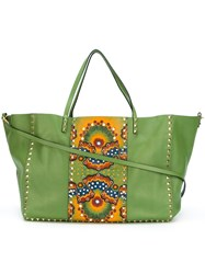 Valentino 'Rockstud Rolling Star Studded' Trapeze Tote Green