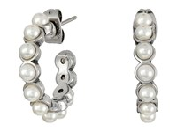 Marc Jacobs Pearl Cabochon Hoops Earrings Cream Antique Silver Earring