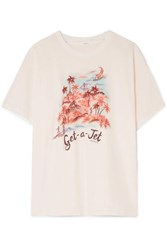 Zimmermann Eyes On Summer Printed Linen And Cotton Blend Jersey T Shirt Ivory