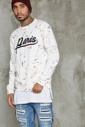 Forever 21 Paris Paint Splatter Sweatshirt White Multi