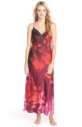 Natori 'Sophia' Long Gown With Lace Red Multi