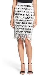 Women's Adrianna Papell Lace Overlay Stripe Pencil Skirt