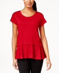 Styleandco. Style And Co. Layered Look Peplum T Shirt Only At Macy's New Red Amore