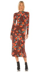 Free People Retro Romance Midi Dress In Burnt Orange. Chocolate