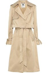 Milly Woman Convertible Layered Sateen Trench Coat Beige