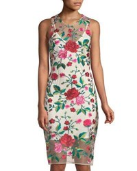 Alexia Admor Floral Embroidered Illusion Sheath Dress Red Pattern