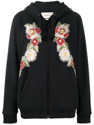 Gucci Fake Rose Embroidered Hoodie Black