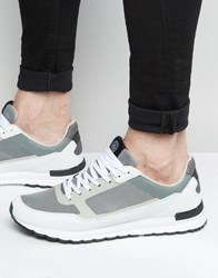 Pull And Bear Pullandbear Two Tone Trainers In White And Grey White