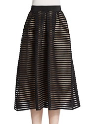 Abs By Allen Schwartz Mesh Stripe Midi Skirt Black