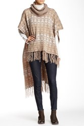 Romeo And Juliet Couture Fringed Turtleneck Poncho Gray