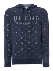 Blend Of America Pattern Crew Neck Pull Over Jumper Navy