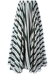 Msgm Striped A Line Maxi Skirt Women Silk Cotton 40