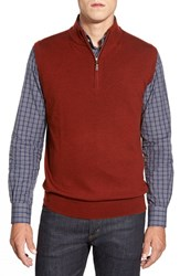Men's Peter Millar Quarter Zip Merino Wool Vest Rust