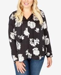 Lucky Brand Trendy Plus Size Floral Print Peasant Blouse Black Multi