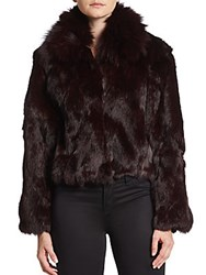 Adrienne Landau Fox And Rabbit Fur Chubby Coat Merlot